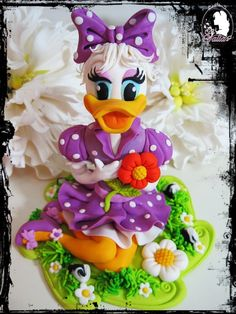 ducks, cake decor, daisies, daisi duck, decoration fondant cakes ideas, decor cake, disney cakes, duck cake, cake topper