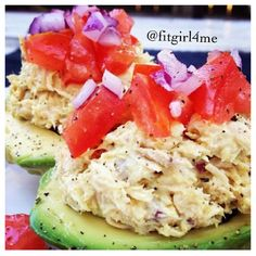 Recipe by @fitgirl4me on Instagram  High protein, no carb meal  Mix one small can of white albacore tuna with 2T Greek yogurt, 1t mustard, and pepper, sea salt, and original Mrs. Dash to taste. Stuff tuna mix into 2 halves of an avocado and top with red onion and tomato.