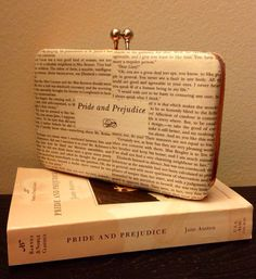 Pride  Prejudice Book Page Evening Clutch by TheNerdBoutique on Etsy, $32.00  A classy addition to a literature lover's closet! (Especially Jane Austen fans!)