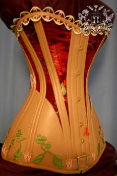 embroidered leather & Brocade S Curve Corset