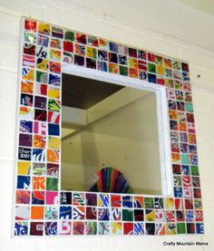 "Fabulous Recycled Soda Can Mirror, Handmade Frame, 12"" Mirror, Resin Coating."