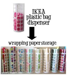Use an IKEA Plastic Bag Dispenser To Store Wrapping Paper.