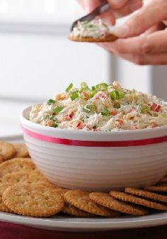 Creamy Crab and Red Pepper Spread -- Sweet, tender lump crab meat in a creamy spread with green onions and red peppers makes for an upscale appetizer recipe.