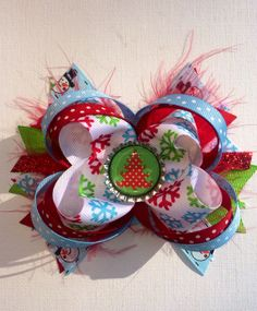 Red, Blue and Green Christmas Hair Bow