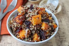 Spicy Roasted Butternut Squash with Quinoa & Cranberries