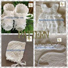 PATTERN PT074 - Crochet Baby Christening Dress Set, Baby Baptism Dress, Crochet Baby Layers Dress, Crochet Baby Dress