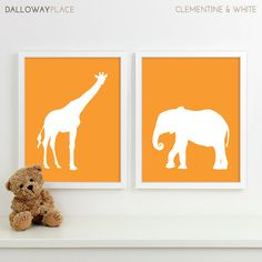 Modern Nursery Art Zoo Nursery Print Safari Animal by DallowayKids