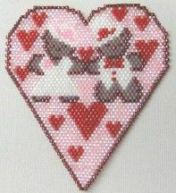 A Beary Happy Valentine's Day Pendant by Bead Art by Ronit at Bead-Patterns.com craft pattern, bead pattern, peyotebrickcomanch pattern, pendants, beari happi, heart bead, bead beauti, bead charm, bead holiday