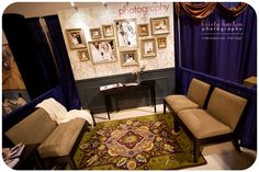 use  my purple chairs & rug + add table / coffee table / lamps    *this one could have my Photo Booth demo w/ props on one side & my purple chairs on the other side