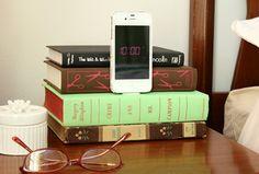 iphon dock, diy iphon, idea, tutorials, crafti, diy book, book craft, book iphon, old books