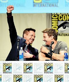 Robert Downey Jr, Jeremy Renner at the Marvel Panel at San Diego Comic Con 2014