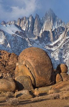Mount Whitney - the highest peak In the contiguous United States, and Alabama Hills' boulders. Alabama Hills, California; photo by Mike Reyfman