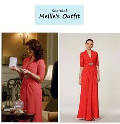 "On the blog: Mellie Grant's (Bellamy Young) coral silk chiffon dress | Scandal - ""We Do Not Touch the First Ladies"" (Ep. 312) #tvstyle #tvfashion #fashion #FLOTUS"