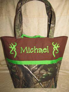 Handmade realtree camo camouflage browning inspired deer buck diaper bag, tote bag lime you choose name. $49.99, via Etsy.
