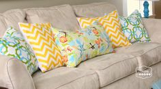 DIY simple fast envelope pillow covers tutorial at thehappyhousie