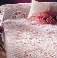 Crochet bedspread with diagram - filet work