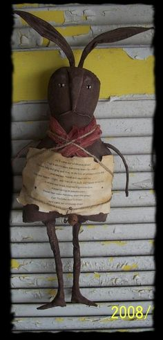 Primitive Poem Rabbit by Rabbithollowprims on Etsy, $28.95