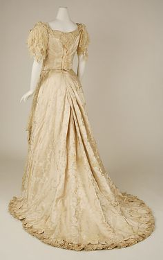 1890's Wedding dress, American, rear view, silk, cotton, beads