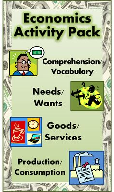 ECONOMICS ACTIVITIES COMBO PACKET~ These eight (8) print-and-go worksheets cover several key concepts including needs/wants, goods/services, and production/consumption. This fun, easy-to-use download bundles three (3) other products. Use these printables for introductory lessons or review. Includes full-size answer keys for each activity! $