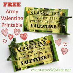Free Printable ARMY Valentine - events to CELEBRATE! craft, printabl armi, valentine day, armi valentin, army printables, free printabl, free valentin