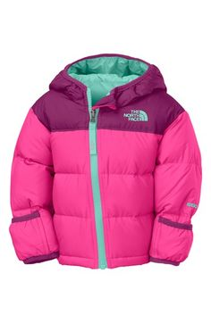 The North Face 'Nuptse' Hooded Down Jacket in sizes newborn - 24 months. Too cute.