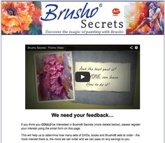 The Brusho® Secrets DVD and book are coming soon! Register your interest at:    www.BrushoSecrets.com    There's nothing else like Brusho® and this will be the first DVD and book showing how to paint expressive watercolours with this exciting medium.