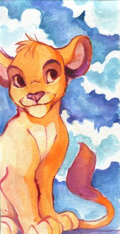 Simba Watercolor - The Lion King