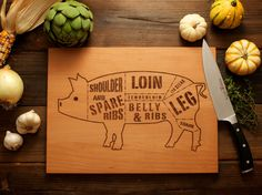 Wooden Pork/Pig Butcher Diagram Cutting Board  12x16  by woodink, $45.00