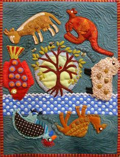 Travel Journal by Sue Spargo, wool applique wall quilt, photo by Robin Atkins | Beadlust
