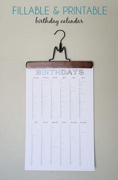 Imprimible perpetuo para recordar los cumpleaños