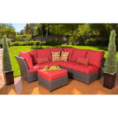 From Walmart, Rushreed 3-Piece Outdoor Sectional Sofa Set, red; seats 5.