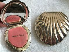 "Heavy Sterling Silver ""American Beauty"" Scallop Shell Compact"