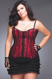 Elegant Black Lace Over Red Satin Corset