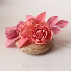 Handmade roses and buds. button beret, by Bianca Snow