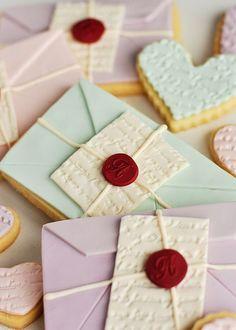 Love letter cookies by Rosie Alyea. So sweet..