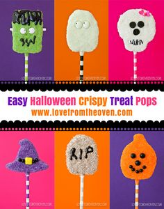 Easy Halloween Crispy Treat Pops.  You can even start with pre-made Rice Krispies Treats and create all these fun pops - easily!
