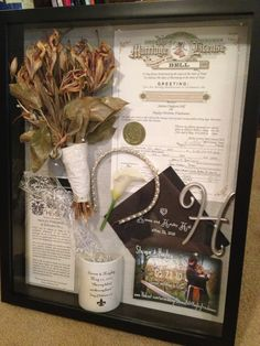 Shadow wedding box...maybe make a shrunk copy of the license to be added in the background