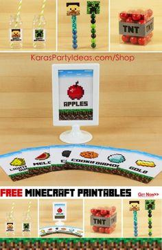 free minecraft birthday party printables via Kara's Party Ideas Shop!