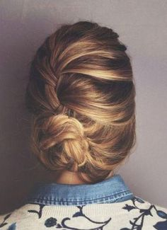 French braid bun. #beauty #hair #braid #updo