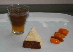 Mousse au Chocolat mit Orangengelee, Zimtparfait, Mandarinen-Dattel-Salat