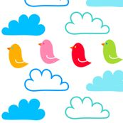 Happy Clouds and Birds by carinaenvoldsenharris, click to purchase fabric