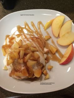Apple Pie Protein Pancakes- Low Carb, Low Sugar, high Protein, Gluten Free, and All Natural! ABS Protein Pancakes! Click the picture for full recipe! www.ashleydrummonds.com