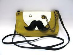Mr Mustache with Monocle Leather Cross Body / Shoulder by askidas, $60.00