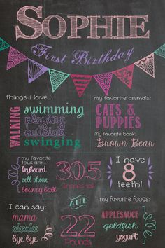 Birthday Chalkboard Poster  Bunting Style / by SuziQPrintShop, $12.50. I Love this one