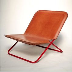 Anonymous; Leather and Powder Coated Steel Sling Chair by Silla, Marfa.