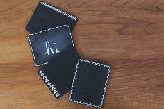 Tiny Chalkboards - A quick and simple craft idea that can be used for home decor or given as gifts. These would make great coasters!