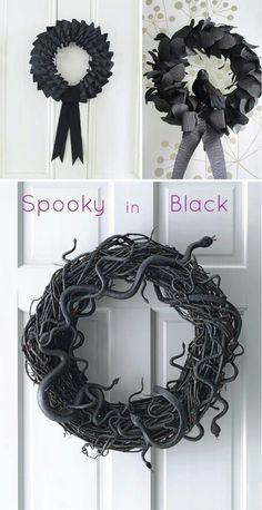 Halloween wreaths, I like the snake one!