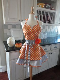 """4RetroSisters   Thanksgiving & Fall Women's Tangerine and Gray Apron """"Sadie Mae Sweetheart Neckline Style"""" $37.95"""