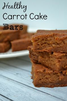 Healthy Carrot Cake Bars - Clean Eating Recipe.  Love these as one of my snack options! LuvaBargain.com