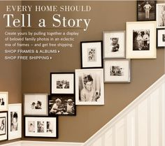 Start with your dating and wedding pics that lead up to kid's baby pics and then present day all going up stairway